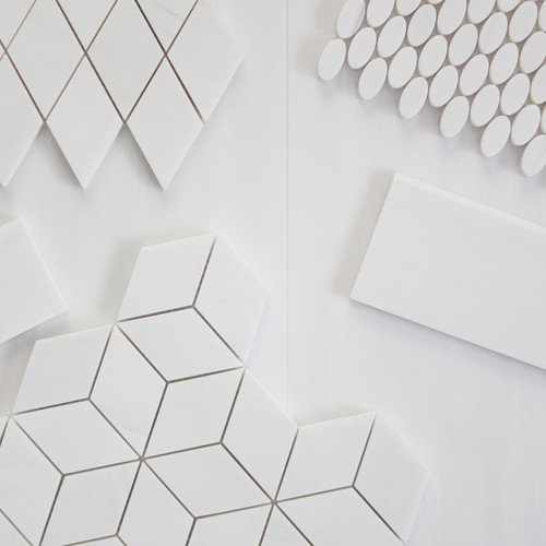 Bianco Dolomite Marble Rhombus 3D Cube Diamond Mosaic Tile Honed