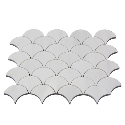 Bianco Dolomite Marble Fish Scale Fan Shaped Sea Shell Mosaic Tile Honed