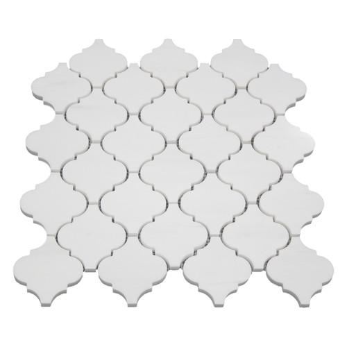 Bianco Dolomite Marble Arabesque Baroque Lantern Mosaic Tile Honed