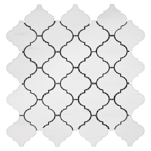 Bianco Dolomite Marble Arabesque Baroque Lantern Mosaic Tile Polished