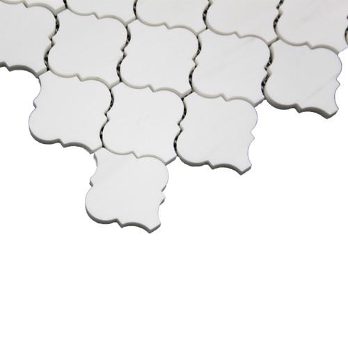 Bianco Dolomite Marble Arabesque Baroque Lantern Mosaic Tile Polished