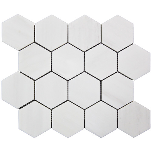 "Bianco Dolomite Marble 3"" Hexagon Mosaic Tile Honed"