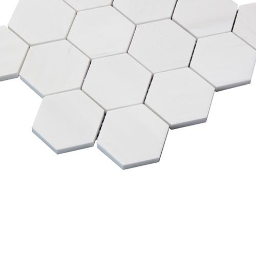 "Bianco Dolomite Marble 3"" Hexagon Mosaic Tile Honed"