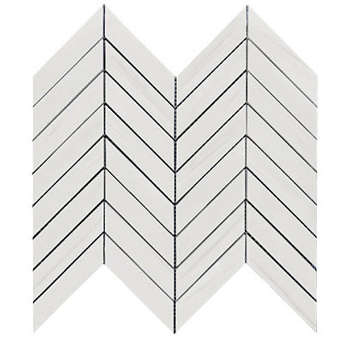 Bianco Dolomiti 1x4 Chevron Mosaic Tile Honed