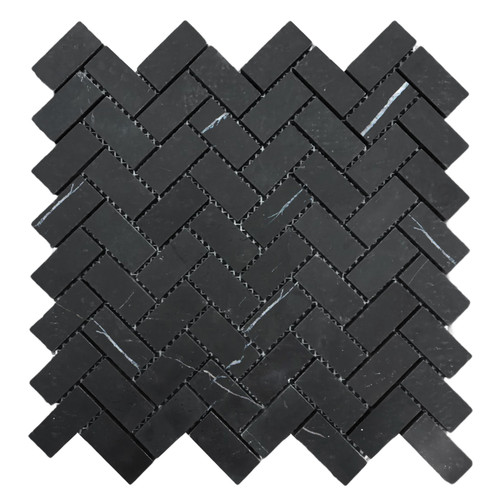 "Nero Marquina Black Marble 1"" x 2"" Herringbone Mosaic Tile Honed"