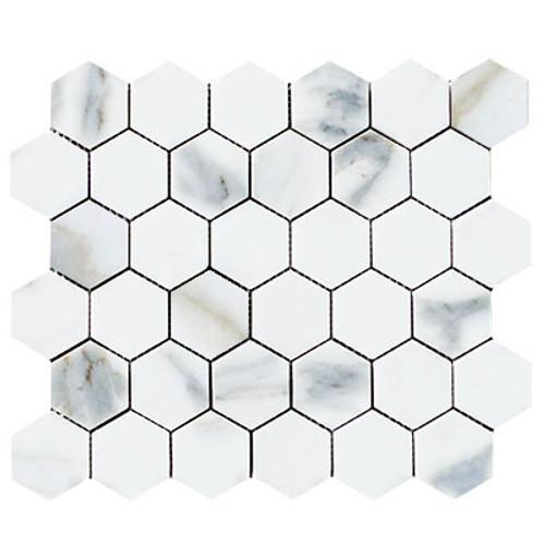 "Calacatta Gold Italian Marble 2"" Hexagon Mosaic Tile Polished"