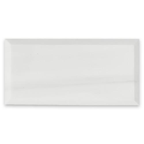 Bianco Dolomiti 3x6 Marble Wide Bevel Subway Tile Honed