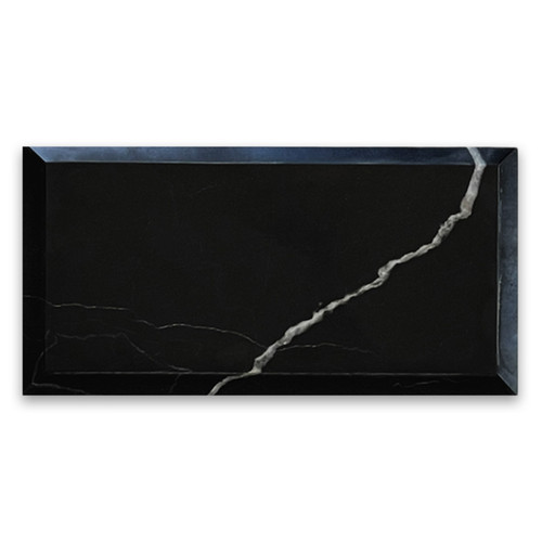 3x6 Nero Marquina Black Wide Beveled Marble Tile Honed