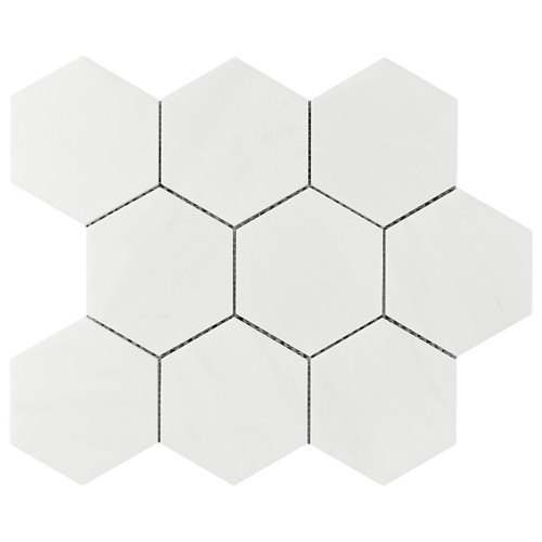 "Bianco Dolomiti Marble 4"" Hexagon Mosaic Tile Honed"