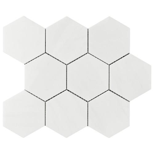 """Bianco Dolomiti Marble 4"""" Hexagon Mosaic Tile Polished"""