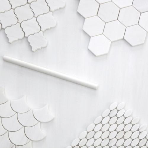 "Polished Bianco Dolomiti Marble 4"" Hexagon Mosaic Tile Ideas 202 Bathroom Shower"