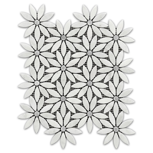 Carrara White Marble With Bardiglio Gray Center Accent Daisy Flower Waterjet Mosaic Tile Honed