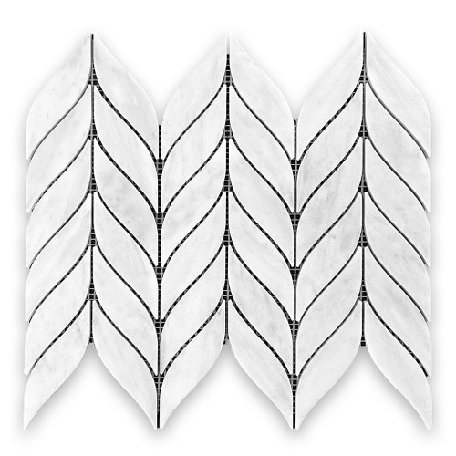 Carrara White Italian Marble Leaf Shape Mosaic Tile Honed