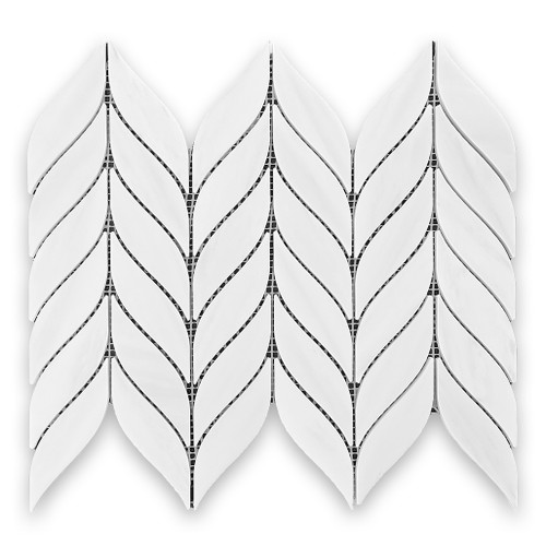 Bianco Dolomiti Marble Leaf Shape Mosaic Tile Honed