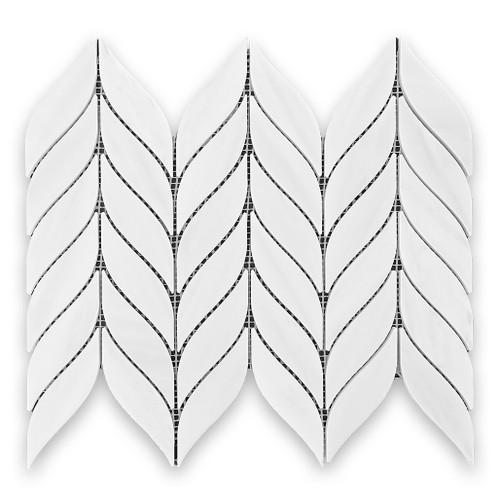 Bianco Dolomiti Marble Leaf Shape Mosaic Tile Polished