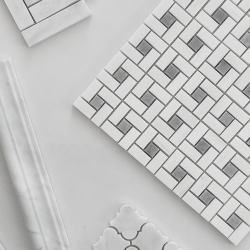 Polished Bianco Dolomiti Marble Target Pinwheel Mosaic Tile with Bardiglio Gray Dots