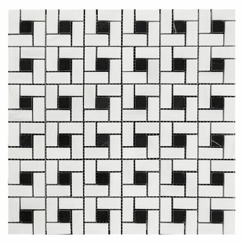 Bianco Dolomiti Marble Target Pinwheel Mosaic Tile with Nero Marquina Black Dots Honed