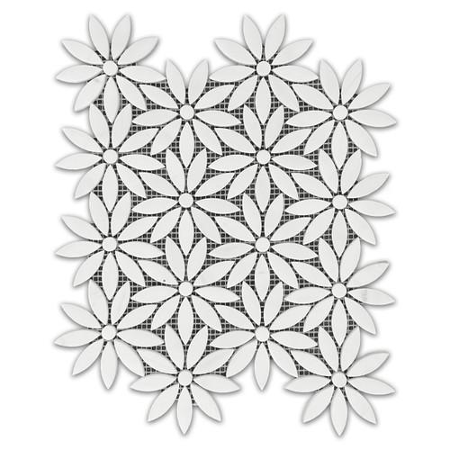 Bianco Dolomiti With Bianco Dolomiti Center Accent Daisy Flower Waterjet Mosaic Tile Honed