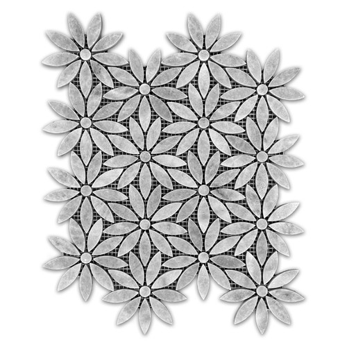 Bardiglio Gray With Bardiglio Gray Center Accent Daisy Flower Waterjet Mosaic Tile Polished