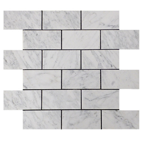 Italian White Carrera Marble Bianco Carrara 2x4 Mosaic Tile Polished