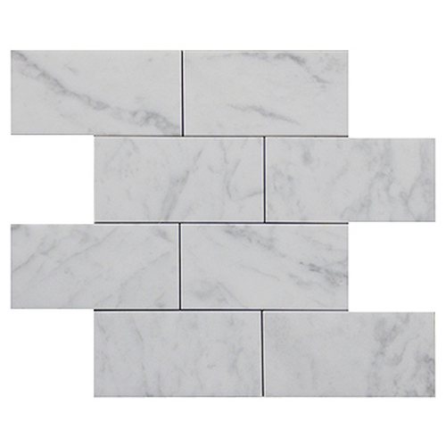 Italian White Carrera Marble Bianco Carrara 3x6 Marble Subway Tile Honed