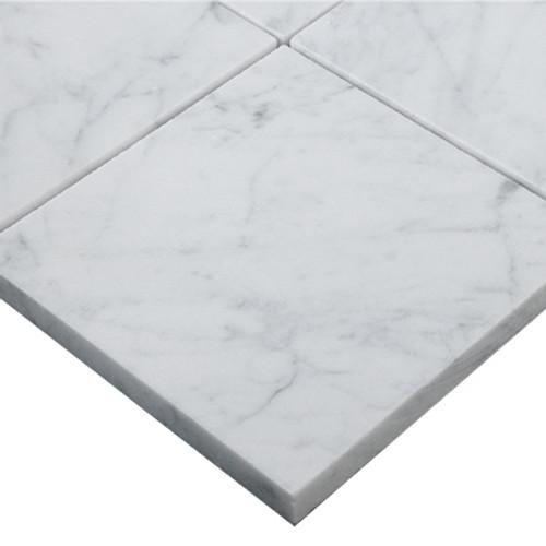Italian White Carrera Marble Bianco Carrara 4x4 Marble Tile Polished