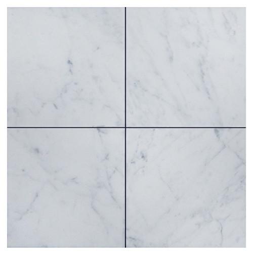 Italian White Carrera Marble Bianco Carrara 6x6 Marble Tile Honed