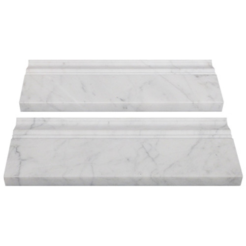 Italian White Carrera Marble Bianco Carrara Baseboard Molding Honed