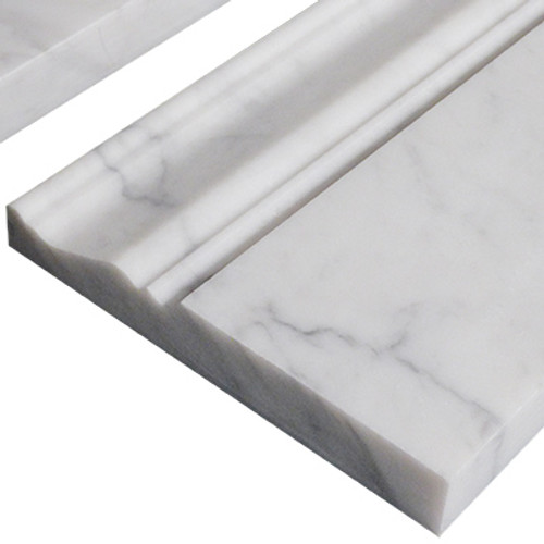 "Italian White Carrera Marble Bianco Carrara 3/4"" Baseboard Molding Honed"