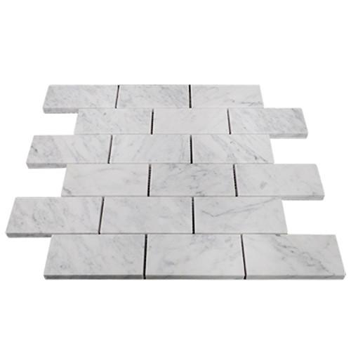 Italian White Carrera Marble Bianco Carrara 2x4 Mosaic Tile Honed