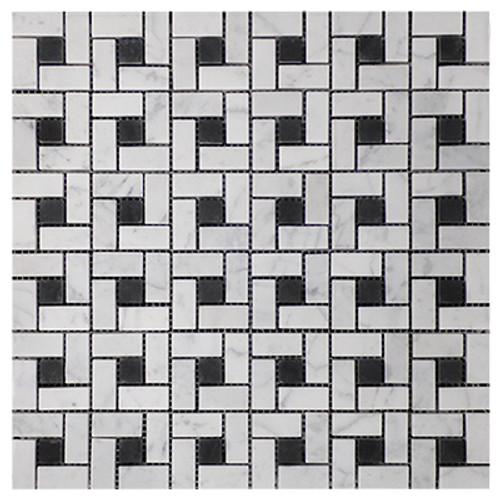 Italian White Carrera Marble Bianco Carrara Target Pinwheel Pattern Marble Mosaic Tile with Nero Marquina Black Dots Polished