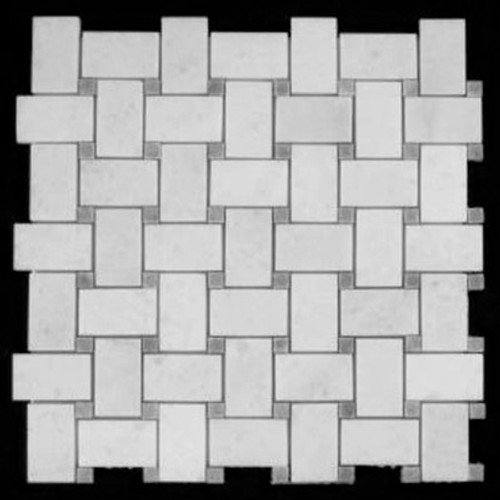 Statuary Crystal Marble Italian White Statuario Basketweave Mosaic Tile with Bardiglio Gray Dots Polished