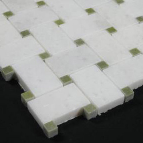 Statuary Crystal Marble Italian White Statuario Basketweave Mosaic Tile with Green Dots Polished