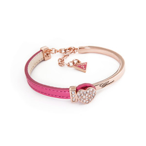 .Pink Leather and Yellow Gold Bracelet by Guess