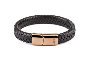 Gent's Brown Leather Bracelet by Kenneth Cole