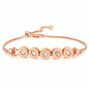 """Featuring polished rose gold plated discs which are bezel set with shimmering crystals in a mix of brilliant, princess and marquise cuts. Finished with fine box chain which can be adjusted to your wrist size. Bracelet chain length: 10"""" (25cm)"""