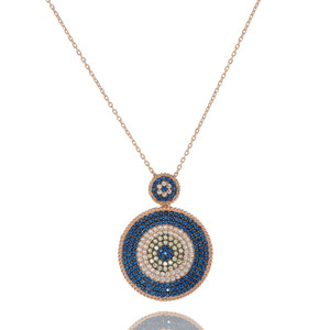 """This stunning necklace features two discs set with the finest sapphire, canary and clear cubic zirconias to produce an eye catching yet discreet piece of jewelry. This necklace length is 16"""", comes with a 2"""" extension and it is finished in 18kt rose gold plating."""