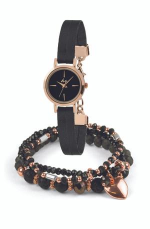 Lily + Serena Watch & Bracelet Set - Black