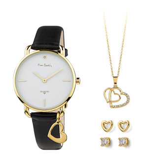 Clean white dial, featuring a real diamond at 12o'clock with gold plated case and markers. A soft black leather strap completes the piece. Accompanied by gold plated crystal pendant and earrings. International warranty