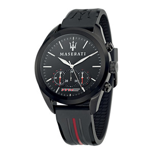 """This Maserati Traguardo chronograph watch means serious business. The design features a 42mm wide and 13mm thick black ion plated solid stainless steel case and black resin finish for a bold no-nonsense look. · Quartz chronograph movement · 12/24-hour time display · Water-resistant to 100 metres"""
