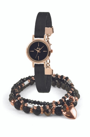 This watch set features a black suede effect band & rose gold case. The 3 bracelets blend semi-precious stones with sparkling cut crystal glass and rose gold coloured beads, This set can be worn singly or stacked for effect.