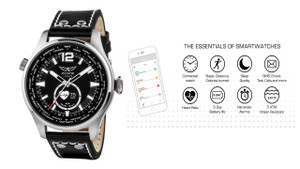 """""""Mixing modern technology with classic styling with a 3-hand analogue movement and rotating world-time bezel. The technology allows the watch to communicate with your smartphone via the in dial LED screen. Android / iOS Compatible.   Steel case and black leather strap.  """""""