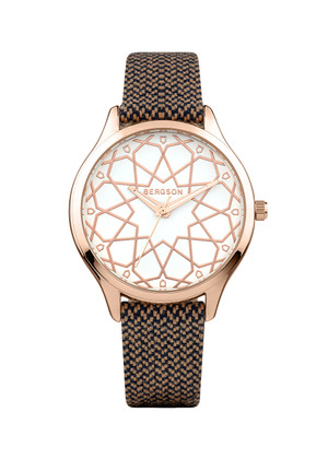 Watch with eco-friendly brown strap made from 100% recycled PET bottles. 36 mm rose gold-plated case and display. 3 ATM.