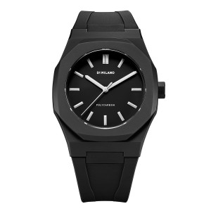 """Innovative materials and Italian design make this watch the new """"Must Have"""" accessory for global trendsetters. This iconic model features a light- weight matte polycarbonate case with silicone strap. Stainless steel hands and indexes. Japanese quartz movement. 5ATM"""