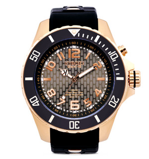"""""""The American watch sensation, being praised by Hollywoodstars, DJ's and influencers. Glows in the Dark with LED lighting push button. Rose Gold plated Stainless Steel Case 48mm. Lifetime guarantee Japanese quartz movement. Adjustable Black Silicon strap. 10 ATM resistant."""