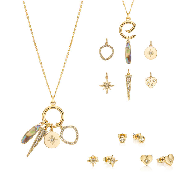 This interchangeable pendant features six wanderlust inspired charms, including a star to guide you on your travels, a heart adorned with hand-set crystals, and a unique abalone stone to symbolise calm and tranquillity. Set includes three pairs of stud earrings.
