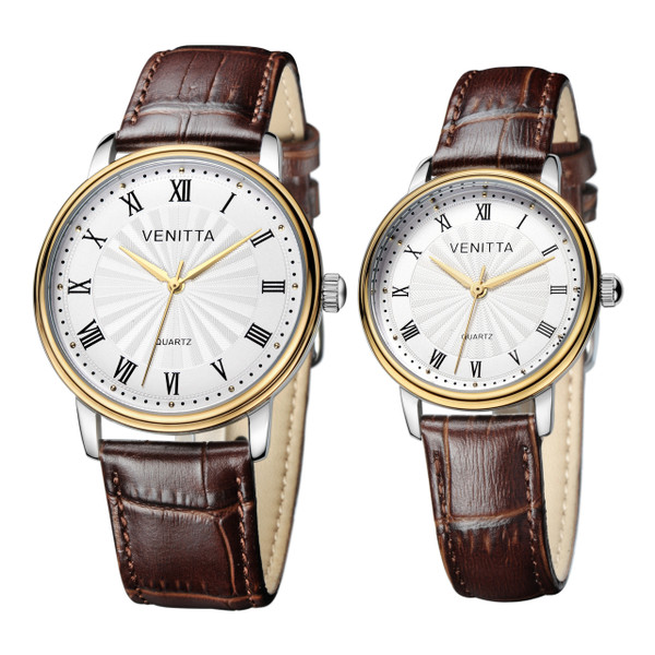 Venitta Twin Watch Set - Brown