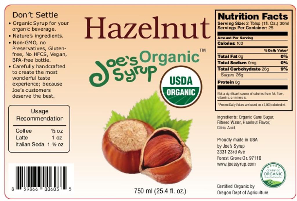 USDA Organic Hazelnut Syrup
