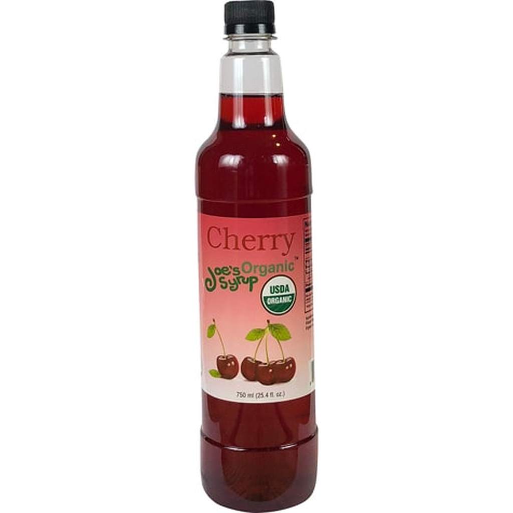 Plump, sweet, tangy.  A favorite with kids of all ages.  Available all year. Made with care, using organic cane sugar, organic Cherry, and just enough citric acid to give it the tartness you expect.  Use Joe's organic Cherry syrup on shaved ice, in Smoothies, Italian soda, ice tea and your favorite specialty beverage.