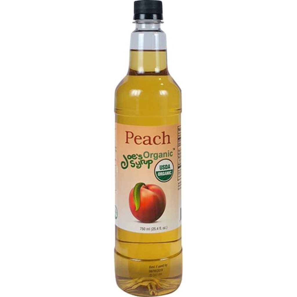 Joe's organic Peach syrup is so good, you can almost taste the fuzz on the skins.  Available year round. Made with care, using organic cane sugar, organic peach, and just enough citric acid to give it the snappiness of a peach fresh off the tree.